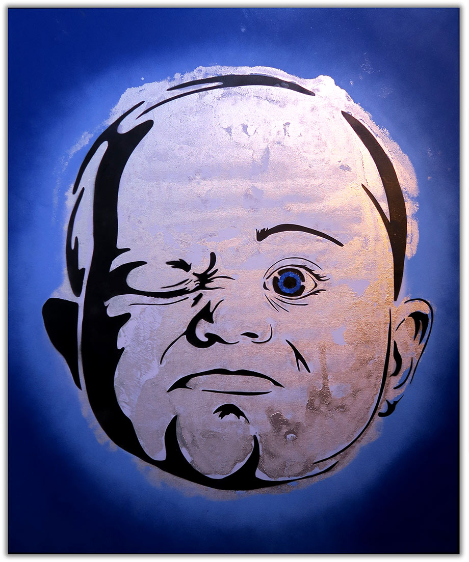 popart-painting-baby-by-artist-Moses-Shahrivar-Sthlm-Art